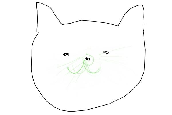 Scrayping Penで猫を描こうとしてるところ