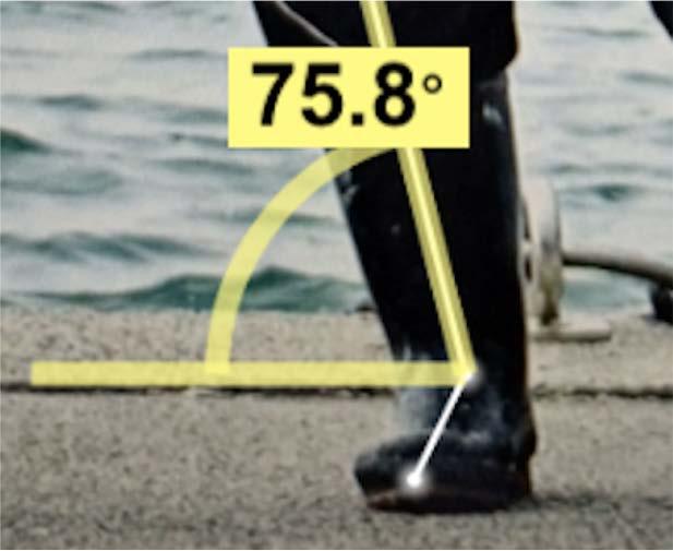 例:足首-膝・水平線の角度