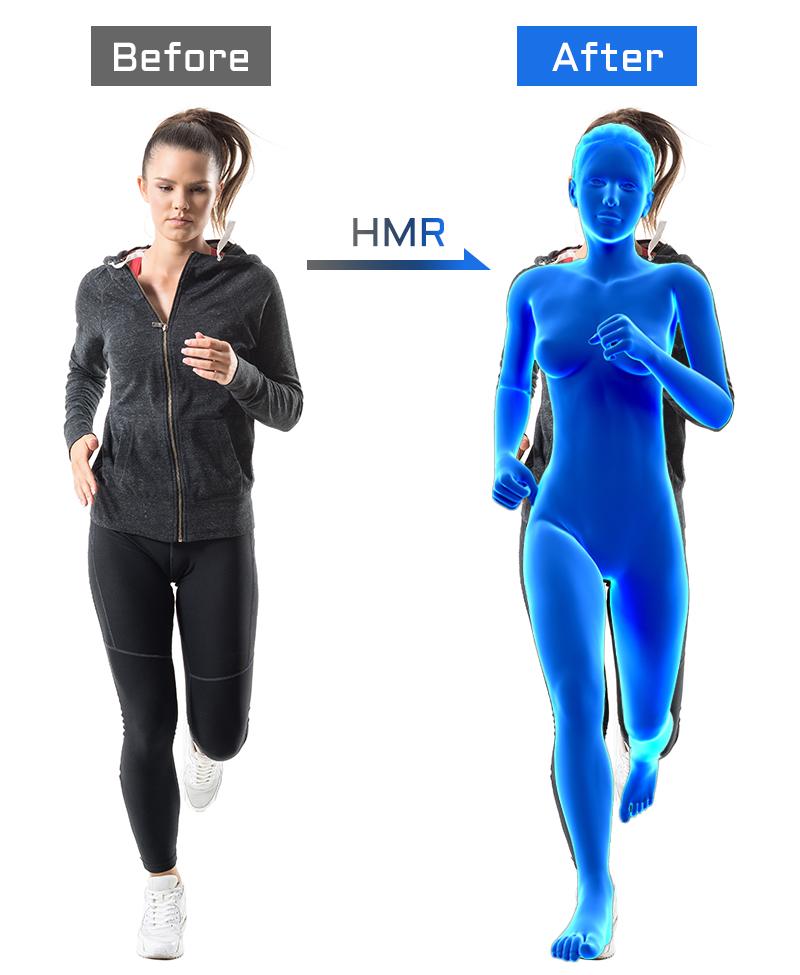 敵対的学習を用いて、Human Mesh Recovery(HMR)から体型・体重を検出
